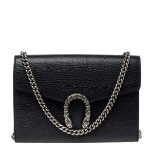 Gucci Black Leather Dionysus Wallet On Chain