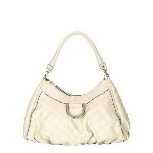Gucci White Calf Leather Abbey D-Ring Shoulder Bag
