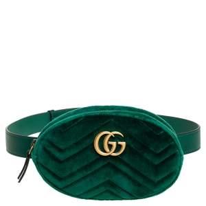 Gucci Green Matelassé Velvet GG Marmont Belt Bag