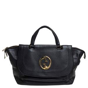 Gucci Black Pebbled Leather 1973 Tote