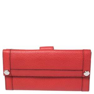 Gucci Scarlet Leather Charmy Continental Wallet