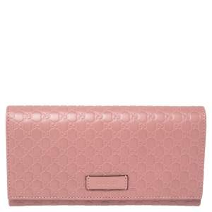 Gucci Pink Microguccissima Leather Flap Continental Wallet