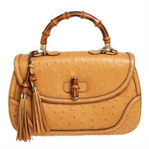 Gucci Mustard Ostrich Large New Bamboo Tassel Top Handle Bag