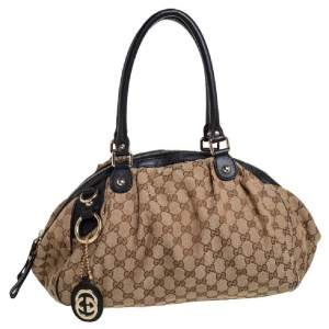 Gucci Blue/Beige GG Canvas And Leather Sukey Satchel