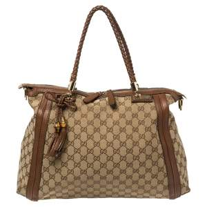 Gucci Beige/Brown GG Canvas and Leather Bella Tote