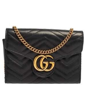 Gucci Black Matelassé Leather GG Marmont Wallet On Chain