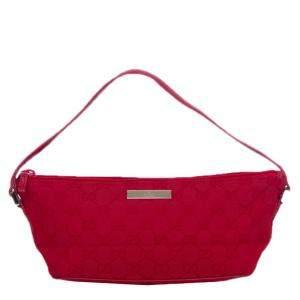 Gucci Red Canvas Pochette Bag