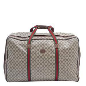 Gucci Brown/Beige GG Canvas Web Vintage Duffel Bag