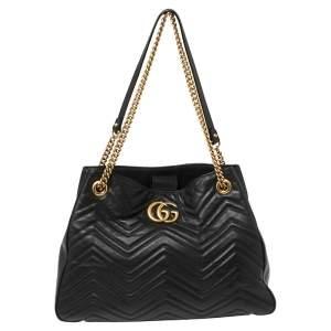 Gucci Black Matelassé Leather Medium GG Marmont Tote
