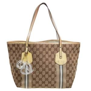 Gucci Beige/Yellow GG Canvas And Patent Leather Tote