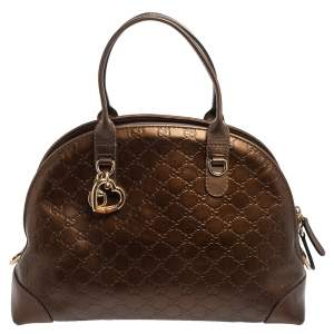 Gucci Bronze Guccissima Leather Heart Bit Charm Dome Satchel