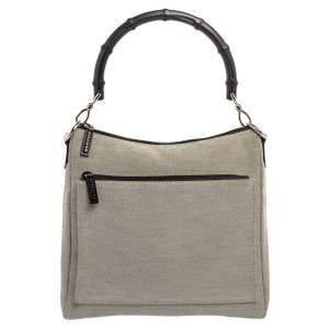 Gucci Grey/Black Canvas Bamboo Top Handle Bag