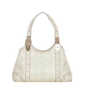 Gucci White Leather Horsebit Shoulder Bag