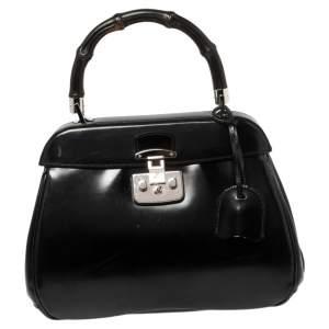 Gucci Black Glossy Leather Medium Lady Lock Top Handle Bag