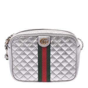 Gucci Silver Laminated  Leather Web Small Shoulder Bag