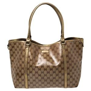 Gucci Beige/Gold GG Crystal Canvas and Leather Medium Joy Tote
