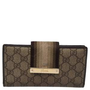 Gucci Beige/Brown GG Supreme Canvas and Leather Web Wallet