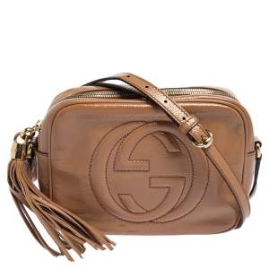 Gucci Beige Patent Leather  Small Soho Disco Shoulder Bag
