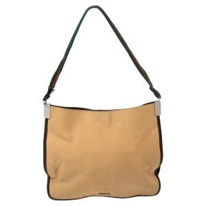 Gucci Khaki Brown Canvas and Leather Trim Web Detail Hobo