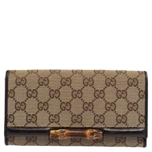 Gucci Beige/Brown GG Canvas and Leather Bamboo Continental Wallet
