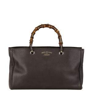 Gucci Brown Leather Medium Bamboo Tote Bag