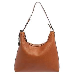 Gucci Brown Pebbled Leather GG Charm Hobo