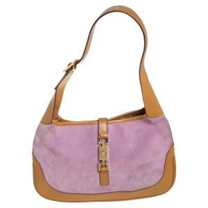 Gucci Purple/Beige Suede and Leather Jackie Hobo