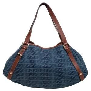 Gucci Blue GG Interlocking Denim and Leather Medium Abbey D Ring Shoulder Bag