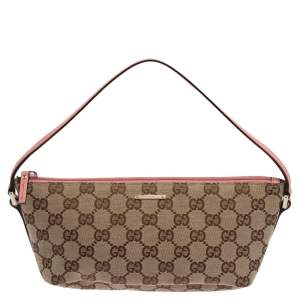 Gucci Pink/Beige GG Canvas And Leather Pochette