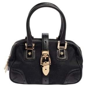 Gucci Blue/Black GG Canvas and Leather Boston Bag