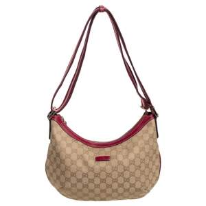 Gucci Beige/Red GG Canvas and Leather Vintage Web Medium Messenger Bag
