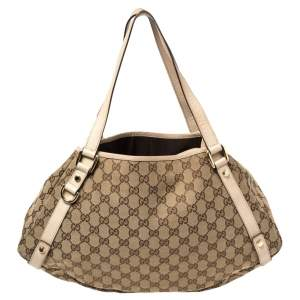 Gucci Beige GG Canvas and Leather Medium Abbey Shoulder Bag