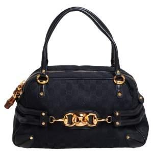 Gucci Black GG Canvas and Leather Trim Wave Boston Bag