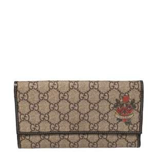 Gucci Brown/Beige GG Supreme and Patent Leather Trim Heart Tattoo Flap Wallet