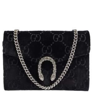 Gucci Black GG Velvet Mini Dionysus Wallet On Chain