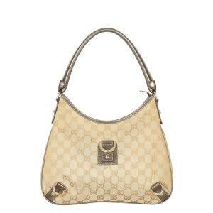 Gucci Brown/Beige Canvas Fabric Abbey Shoulder Bag