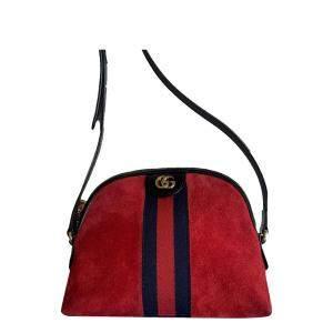 Gucci Red Suede Ophidia Shoulder Bag