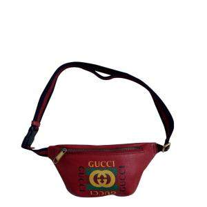 Gucci Red Leather Coco Capitan Logo Belt Bag