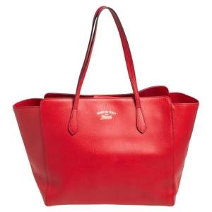 Gucci Red Leather Large Swing Shopper Tote