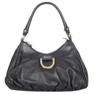 Gucci Black Calf Leather Abbey D-Ring Shoulder Bag