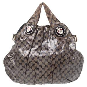 Gucci Beige/Black GG Crystal Coated Canvas Hysteria Hobo