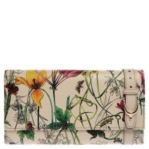Gucci Off White Floral Print Leather Nice Continental Wallet