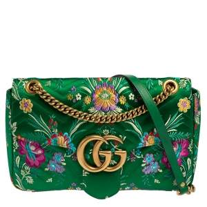 Gucci Green Matelassé Floral Satin Medium GG Marmont Shoulder Bag