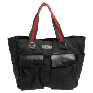 Gucci Black GG Canvas Double Pocket Web Handle Tote