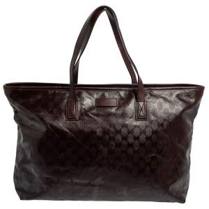 Gucci Burgundy GG Imprime Canvas and Leather Shopper Tote