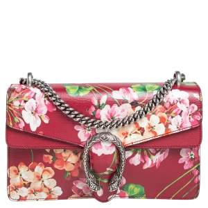 Gucci Red Blooms Leather Small Dionysus Shoulder Bag