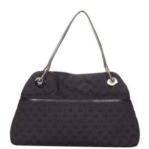 Gucci Black Canvas Fabric Eclipse Shoulder Bag