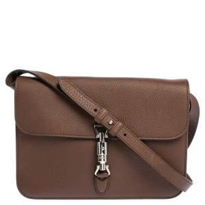 Gucci Brown Soft Pebbled Leather Jackie Flap Shoulder Bag
