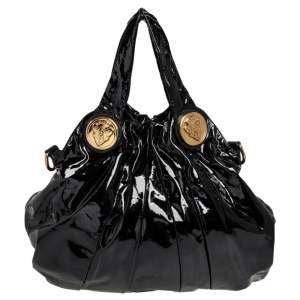 حقيبة هوبو غوتشي هستيريا جلد لامع أسود