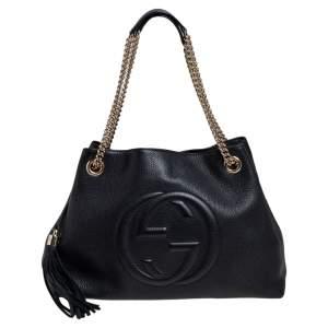حقيبة يد توتس غوتشي سوهو جلد سوداء متوسطة بسلسلة